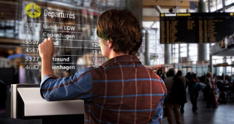 Exemple d'application possible dans un aéroport. © Displair