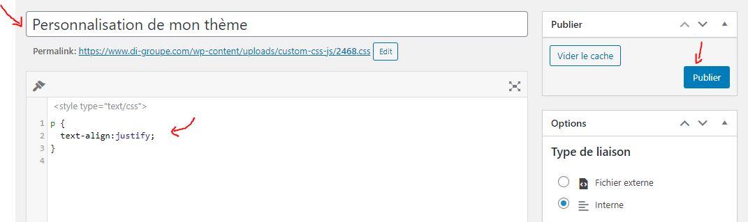 Ajouter du CSS personnalisé à mon thème WordPress